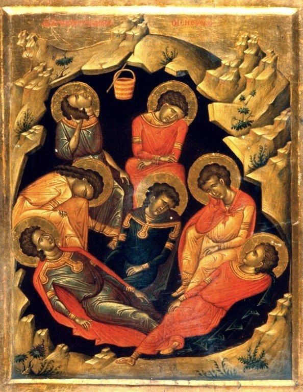Святые семь отроков Ефесских. Икона в монастыре Святой Екатерины на Синае.