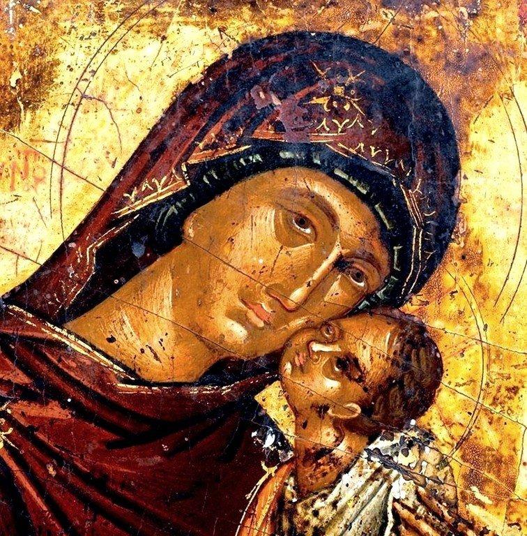 Богоматерь Елеуса. Икона. Крит, вторая половина XV века. Фрагмент.