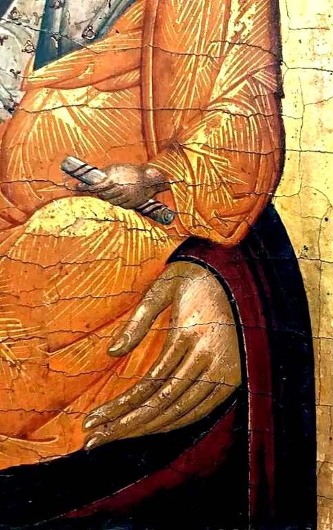 Богоматерь Одигитрия. Икона критской школы. Фрагмент.