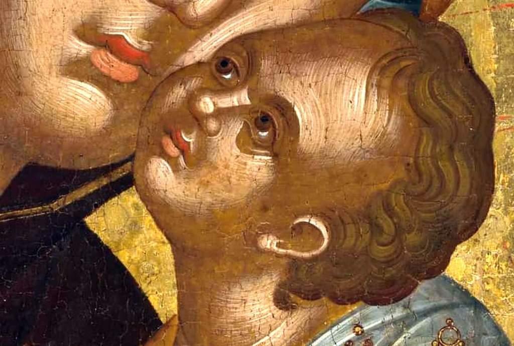Богоматерь Елеуса. Икона. Крит, XV век. Фрагмент.