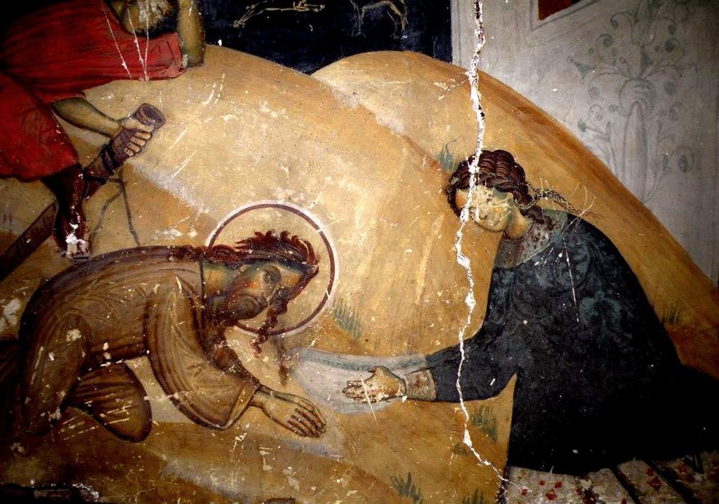 Усекновение главы Святого Иоанна Предтечи. Фреска церкви Святого Иоанна Предтечи в Кастории, Греция. XVIII век. Фрагмент.