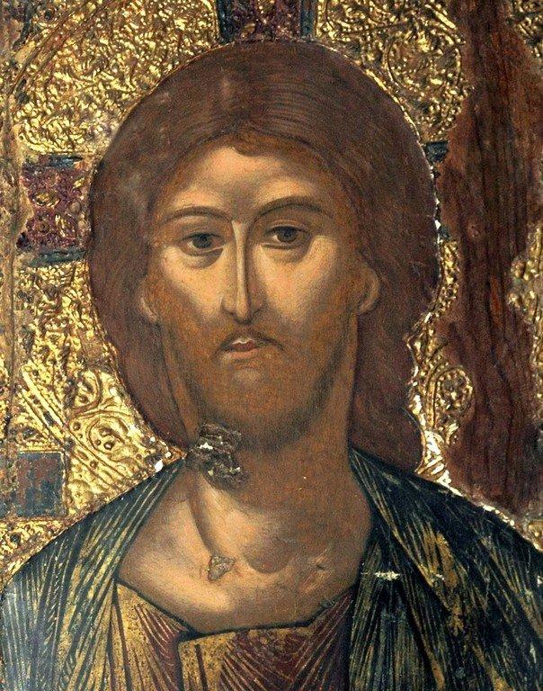 Христос Пантократор. Икона в монастыре Святого Неофита Затворника на Кипре. Лик Спасителя.