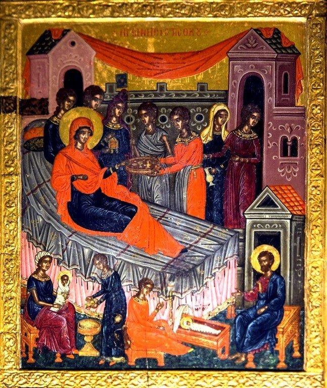 Рождество Пресвятой Богородицы. Икона в монастыре Великий Метеор, Метеоры, Греция.