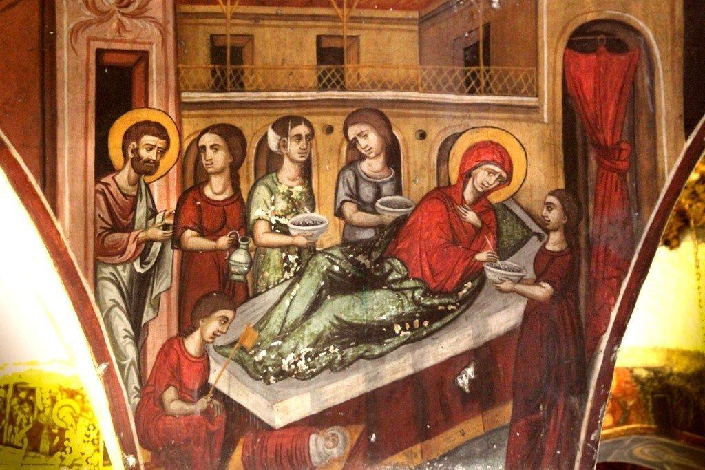 Рождество Пресвятой Богородицы. Фреска церкви Панагии Хрисопантанассы в Палехори на Кипре.