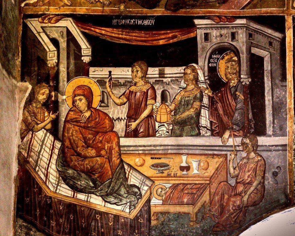 Рождество Пресвятой Богородицы. Фреска церкви Святой Параскевы в Йероскипу на Кипре.