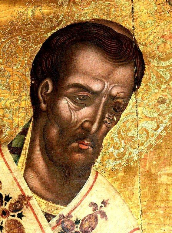 Святитель Иоанн Златоуст. Икона в монастыре Палеокастрица на острове Керкира (Корфу), Греция. Лик.