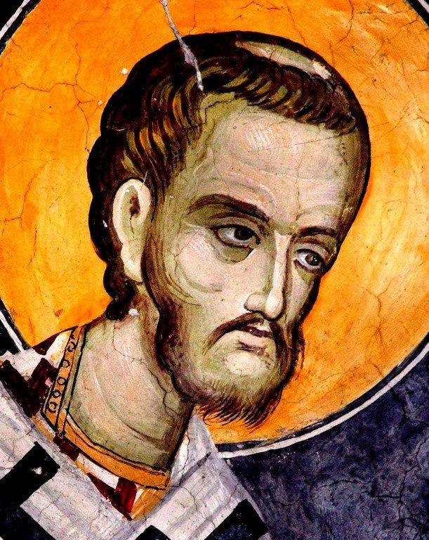 Святитель Иоанн Златоуст. Фреска монастыря Святого Неофита Затворника на Кипре. 1503 год.