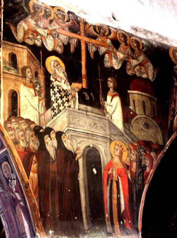 Воздвижение Честного и Животворящего Креста Господня. Фреска церкви Панагии Хрисопантанассы в Палехори на Кипре.