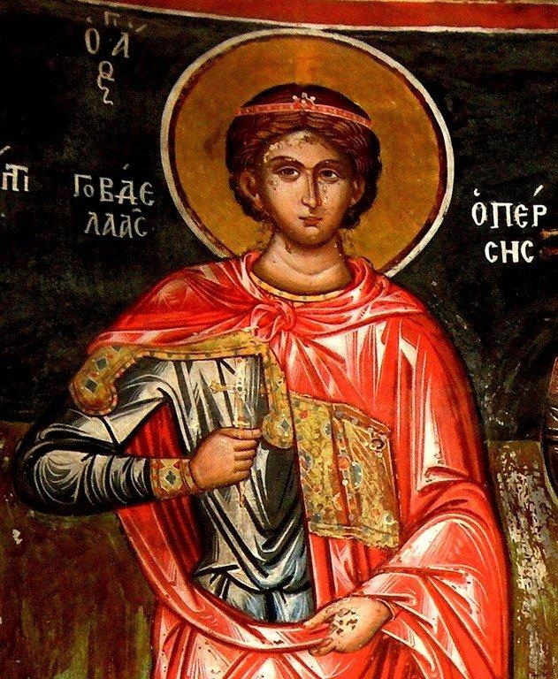 Святой Мученик Гаведдай, царевич Персидский. Фреска монастыря Кутлумуш на Афоне.