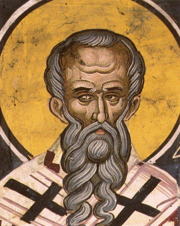 Священномученик Григорий, Просветитель Армении. Фреска монастыря Дионисиат на Афоне. 1547 год. Иконописец Тзортзи (Зорзис) Фука.