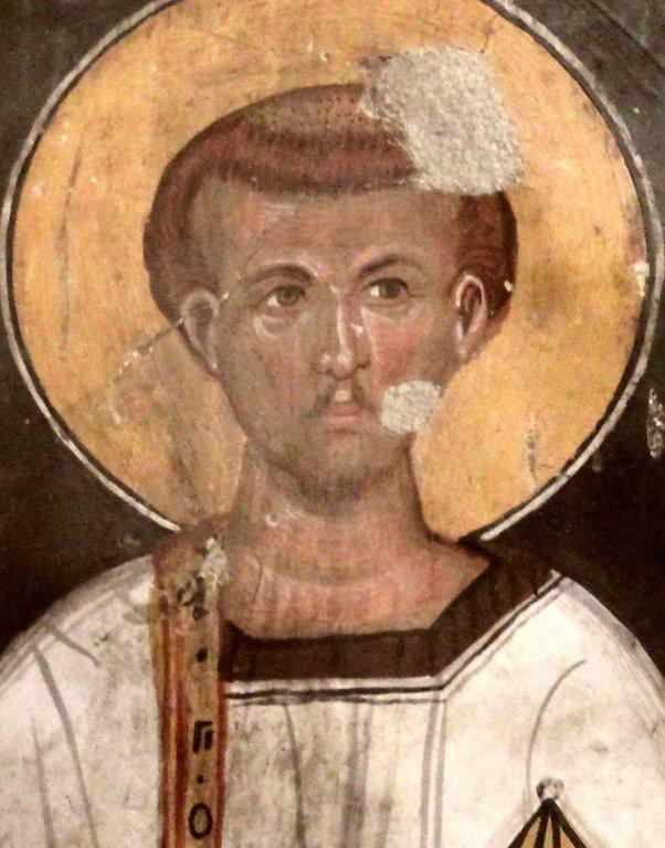 Святой Преподобный Роман Сладкопевец. Фреска церкви Святого Созомена в Галате, Кипр.