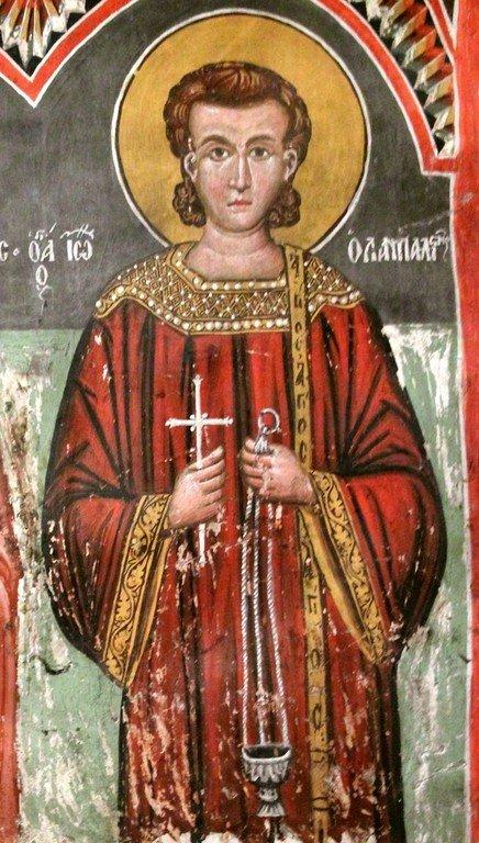 Святой Преподобный Иоанн Лампадист. Фреска церкви Святого Созомена в Галате, Кипр.