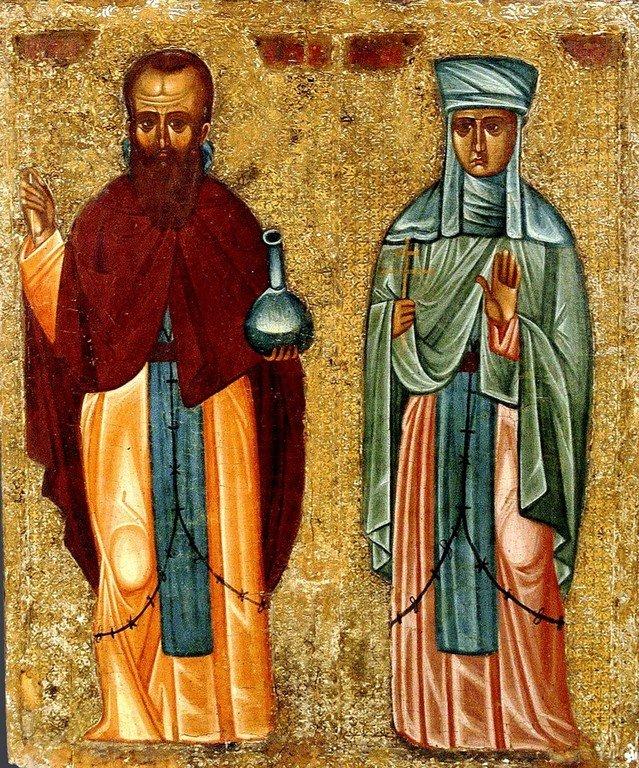 Святые Преподобные Андроник и Афанасия. Икона. Кипр, XVI век.