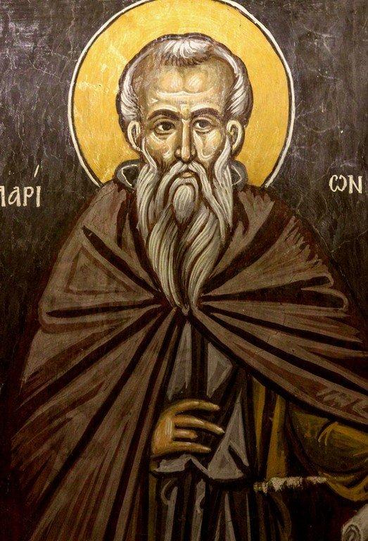 Святой Преподобный Иларион Великий. Фреска церкви Преображения Господня в Палехори на Кипре. 1610 - 1620-е годы.