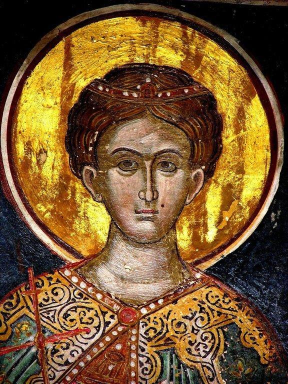 Святой Великомученик Димитрий Солунский. Фреска монастыря Русану в Метеорах, Греция. XVI век.