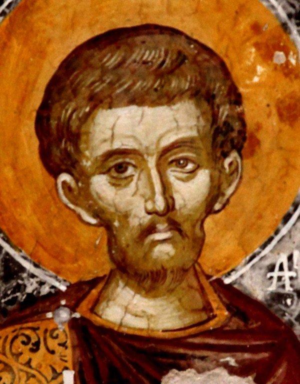 Святой Мученик Елпидифор Персидский. Фреска монастыря Святого Неофита Затворника на Кипре. 1503 год.