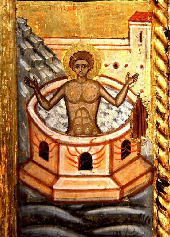 Святой Великомученик Георгий Победоносец, с житием. Греческая икона XVI века. Византийский музей в Кастории. Фрагмент.