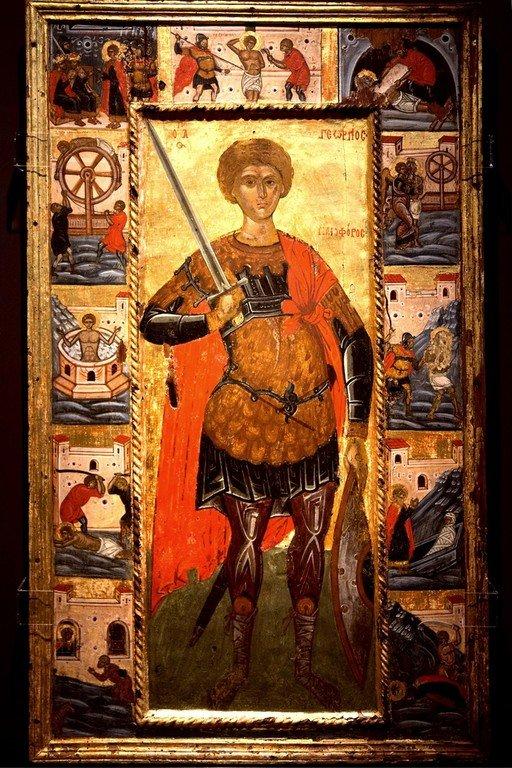 Святой Великомученик Георгий Победоносец, с житием. Греческая икона XVI века. Византийский музей в Кастории.