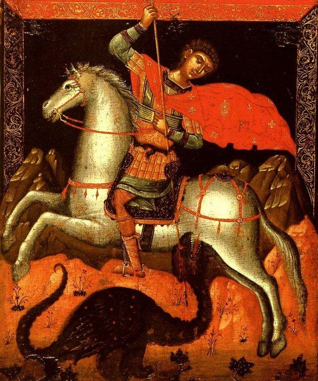 Чудо Святого Георгия о змие. Икона критской школы XVI века.