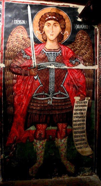 Архистратиг Михаил. Фреска церкви Архангела Михаила в деревне Педулас на Кипре.