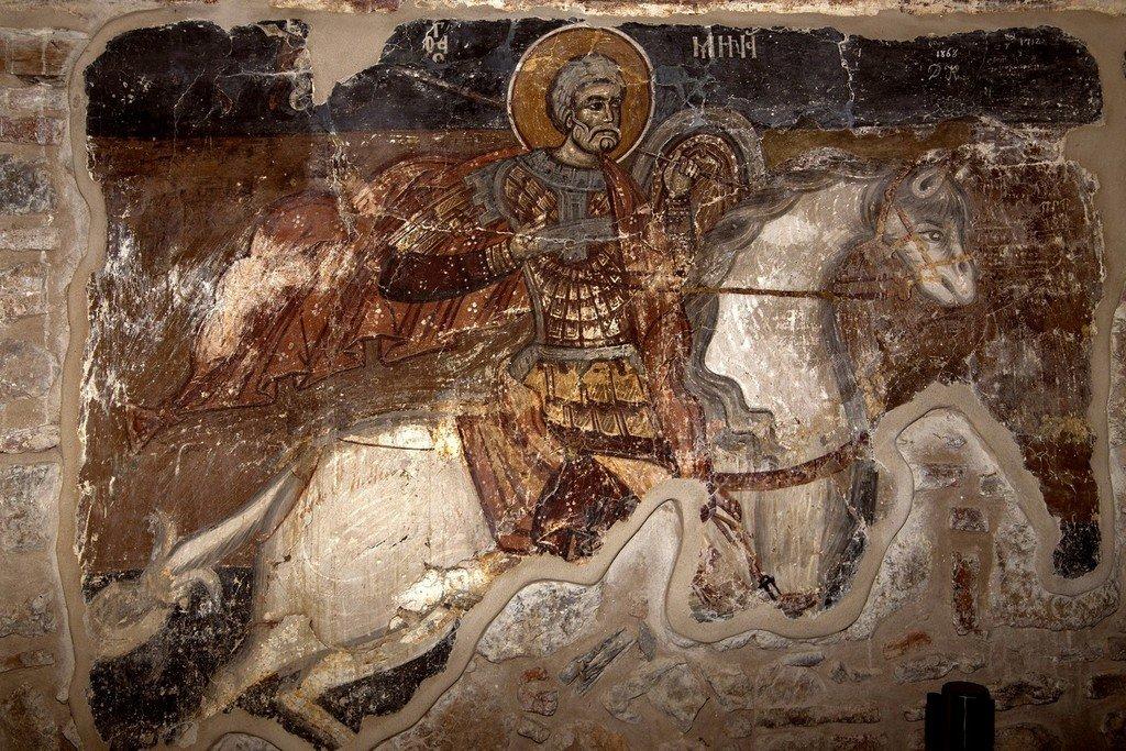 Святой Великомученик Мина. Фреска церкви Панагии Кубелидики в Кастории, Греция.