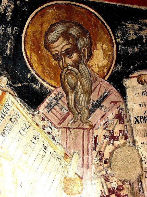 Святитель Иоанн Милостивый, Патриарх Александрийский. Фреска монастыря Русану в Метеорах, Греция. XVI век.
