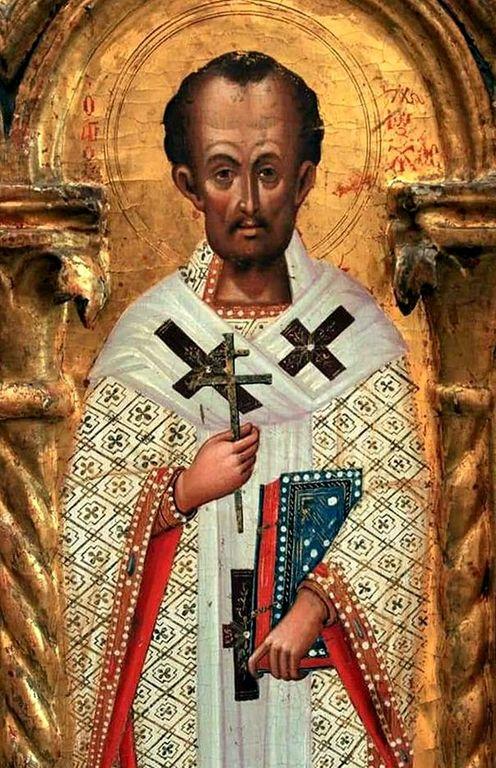 Святитель Иоанн Златоуст. Фрагмент Царских Врат. Кипр, XV век.