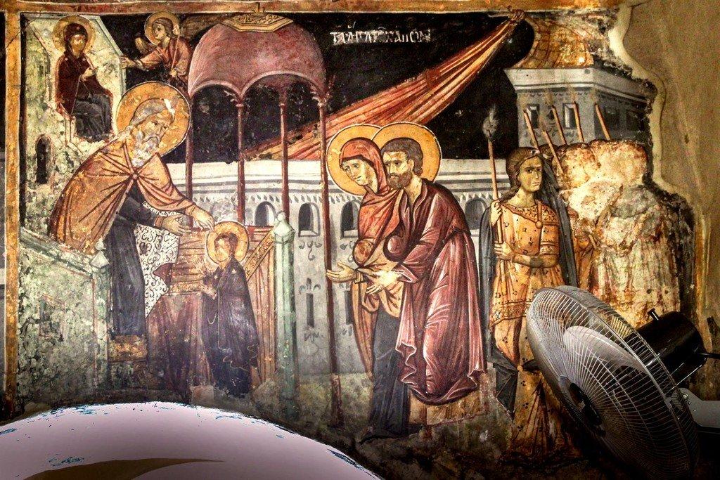 Введение во храм Пресвятой Богородицы. Фреска церкви Святой Параскевы в Йероскипу на Кипре.