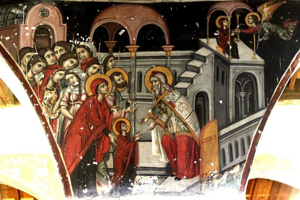 Введение во храм Пресвятой Богородицы. Фреска церкви Панагии Хрисопантанассы в Палехори на Кипре.