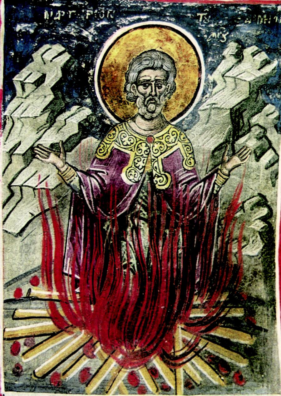 Мученичество Святого Емилиана Доростольского. Фреска монастыря Дионисиат на Афоне. 1547 год. Иконописец Тзортзи (Зорзис) Фука.