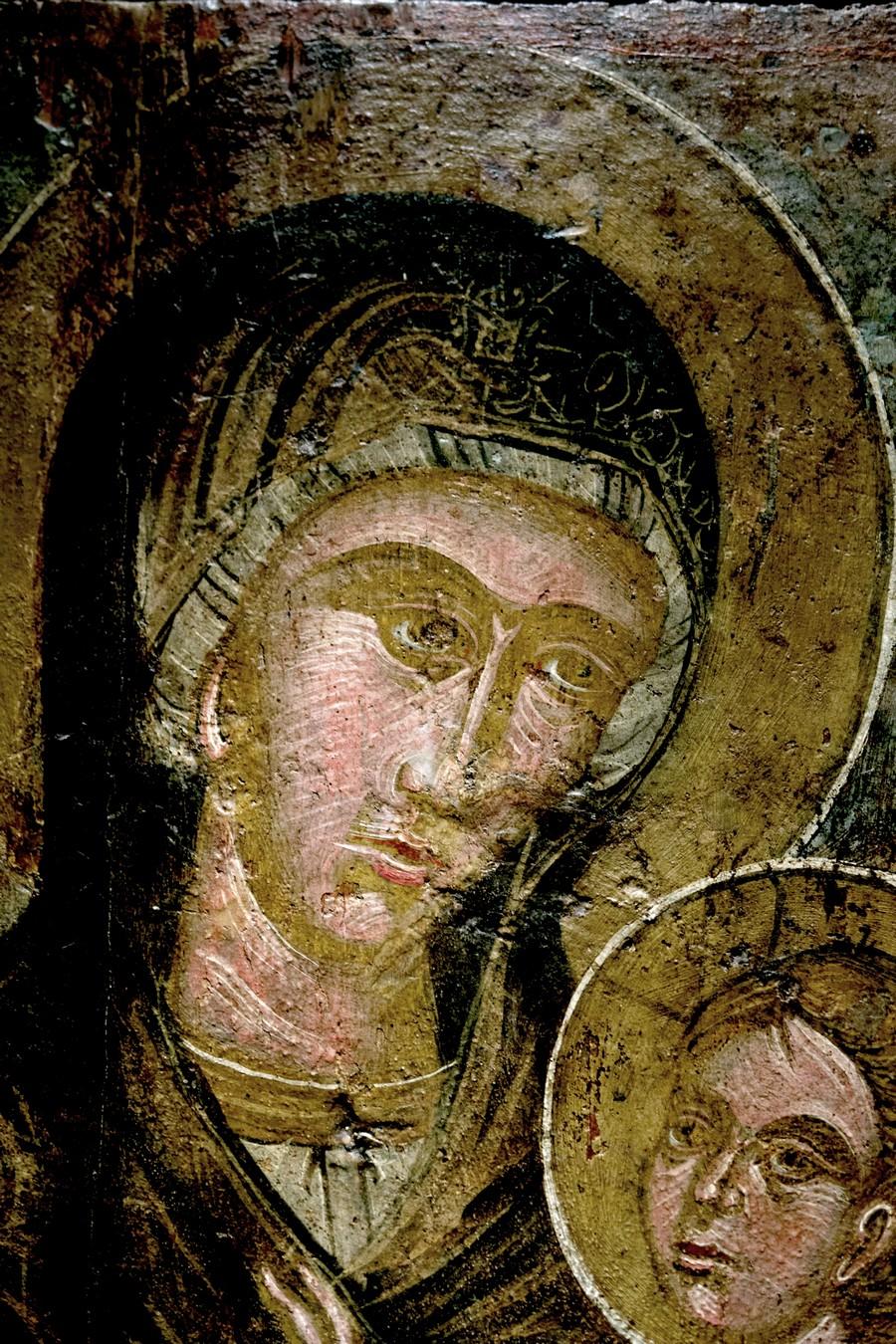 "Икона Божией Матери ""Одигитрия"". Греция, XV век. Византийский музей в Афинах. Фрагмент."