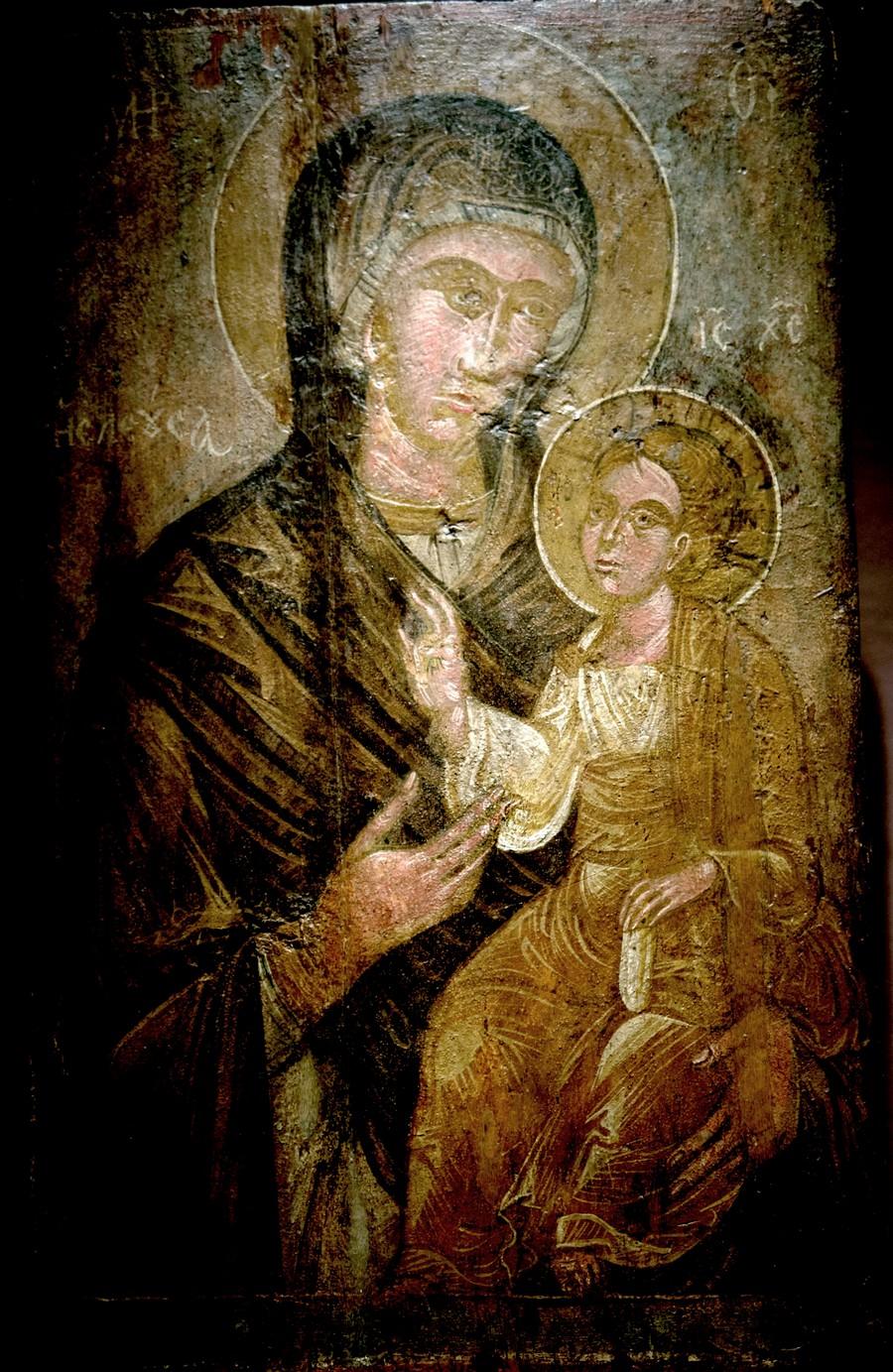 "Икона Божией Матери ""Одигитрия"". Греция, XV век. Византийский музей в Афинах."