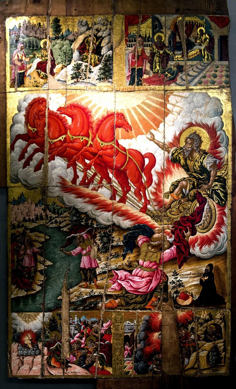 Огненное восхождение Святого Пророка Божия Илии. Икона. Керкира, вторая половина XVII века. Византийский музей в Афинах.