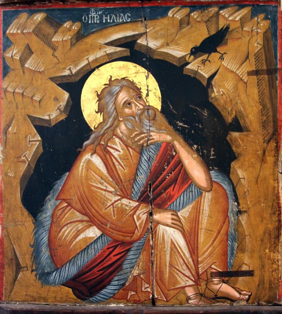 Святой Пророк Божий Илия в пустыне. Кипрская икона XVI века. Византийский музей города Пафос на Кипре.