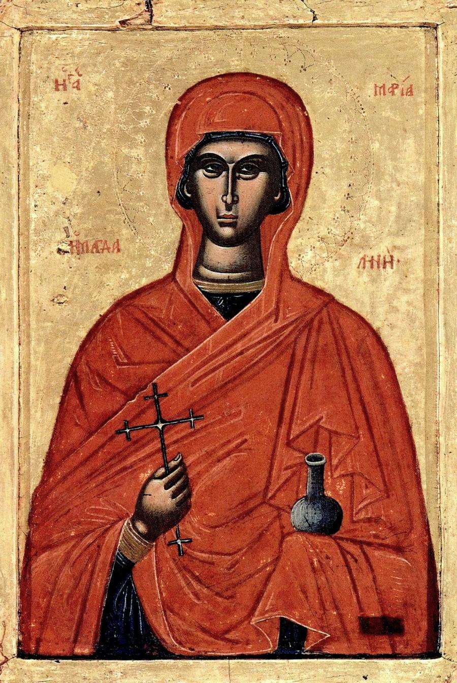 Святая Мироносица Равноапостольная Мария Магдалина. Старинная греческая (?) икона.