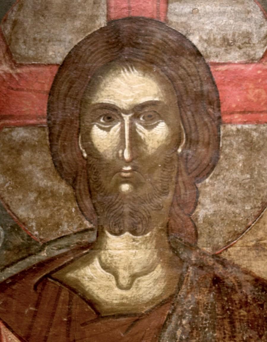 Христос Пантократор. Икона. Преспа, XV век. Византийский музей в Афинах. Фрагмент.