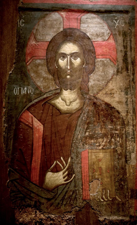 Христос Пантократор. Икона. Преспа, XV век. Византийский музей в Афинах.