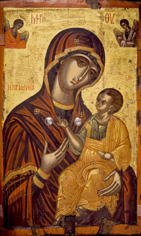 """Икона Божией Матери """"Одигитрия"""" (с эпитетом """"Парамифия"""" на фоне). Византийский музей в Кастории, Греция."""