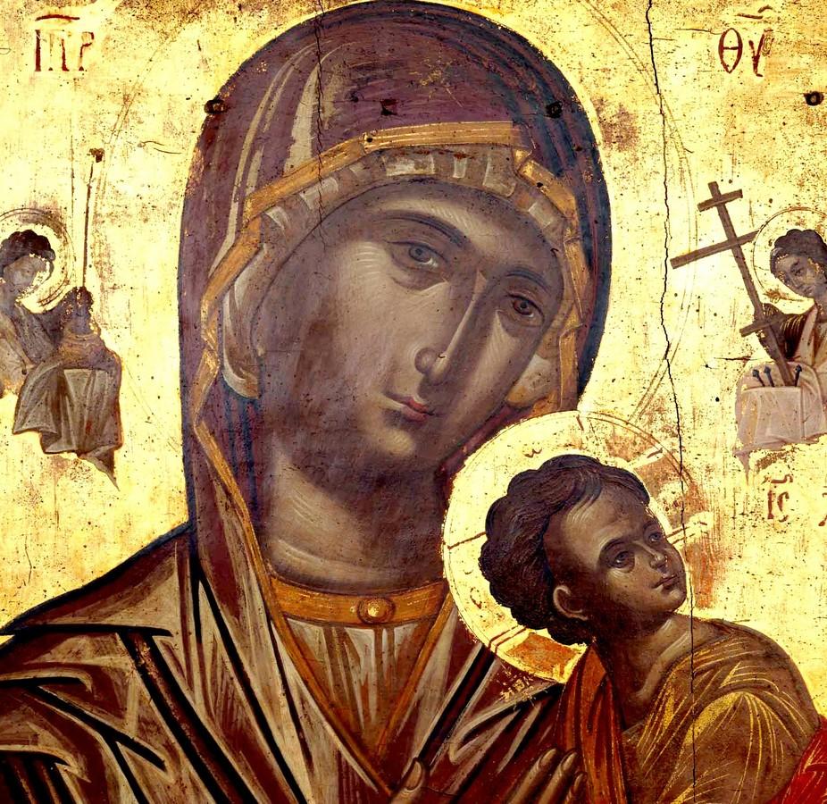 Страстная икона Божией Матери. Греция, XVI век. Иконописец Эммануил Тзанфурнарис. Фрагмент.