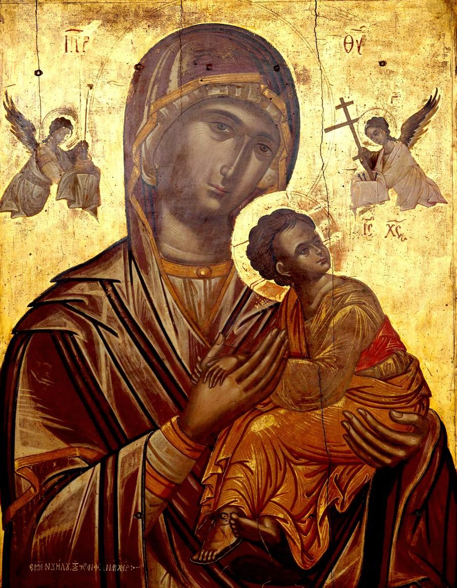 Страстная икона Божией Матери. Греция, XVI век. Иконописец Эммануил Тзанфурнарис.