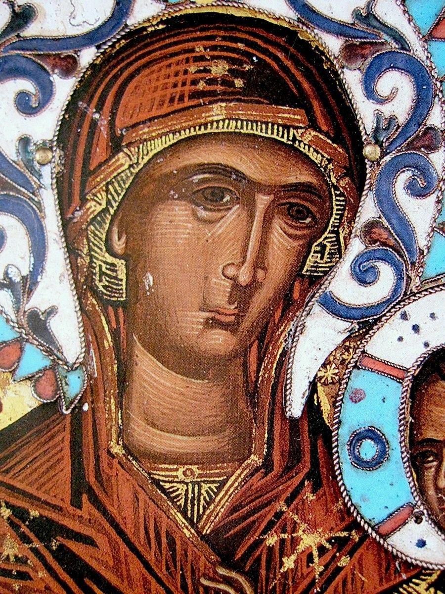 "Чудотворная икона Божией Матери ""Всецарица"" (""Пантанасса""). Монастырь Ватопед на Афоне. Фрагмент."