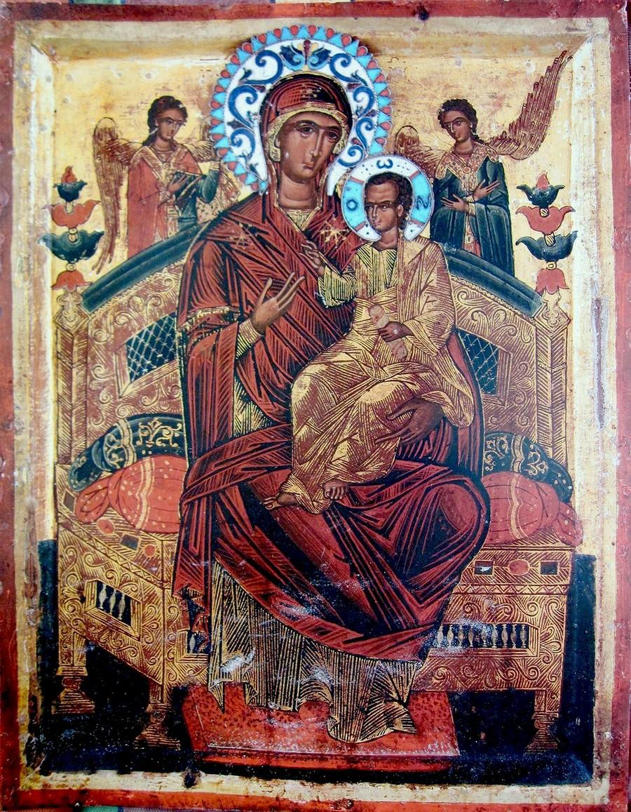 "Чудотворная икона Божией Матери ""Всецарица"" (""Пантанасса""). Монастырь Ватопед на Афоне."