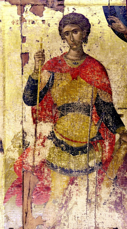 Святой Великомученик Фанурий Новоявленный, Родосский. Икона. Крит, вторая четверть XV века. Иконописец Ангелос Акотантос.