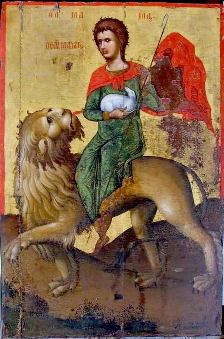 Святой Мученик Мамант Кесарийский. Кипрская икона. XVI век (?).