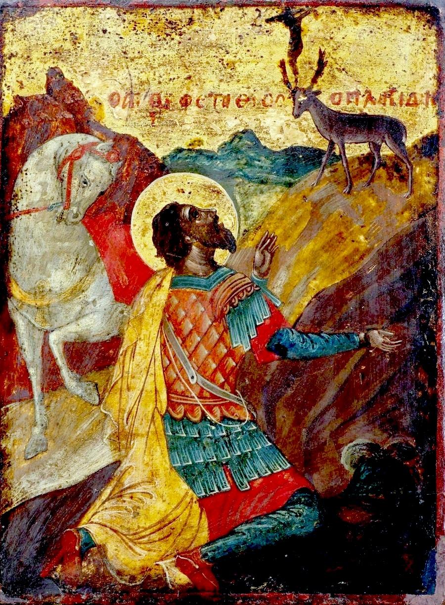Видение Святого Евстафия Плакиды. Греческая икона.
