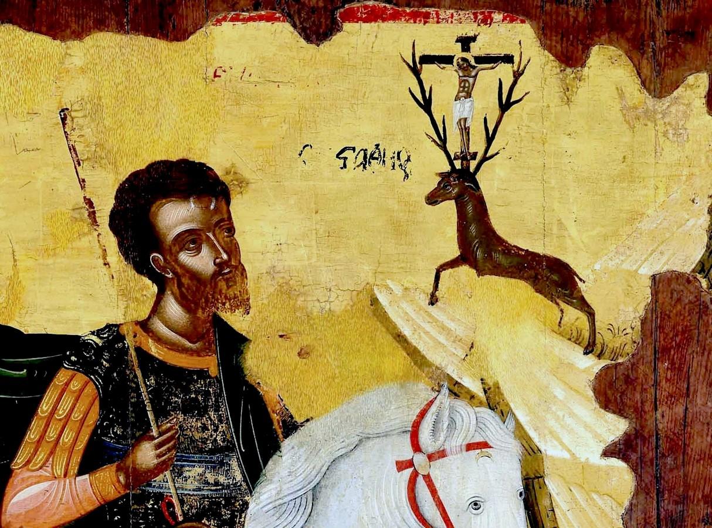 Видение Святого Евстафия Плакиды. Икона. Крит, начало XVI века. Фрагмент.
