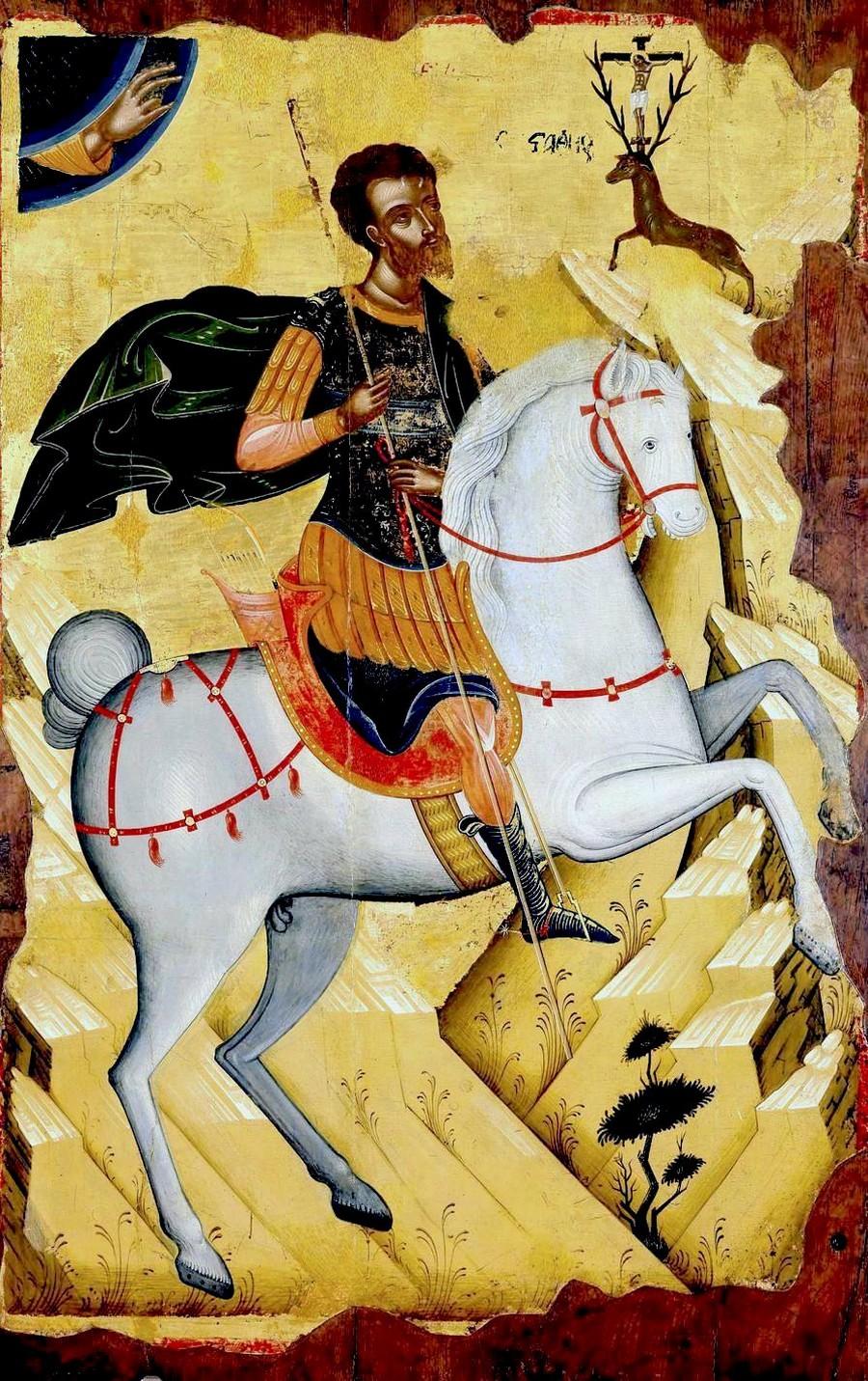 Видение Святого Евстафия Плакиды. Икона. Крит, начало XVI века.