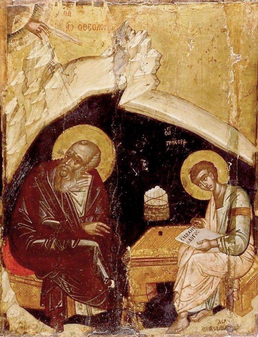 Святой Апостол и Евангелист Иоанн Богослов и его ученик Святой Апостол от Семидесяти Прохор на острове Патмос. Греческая икона.