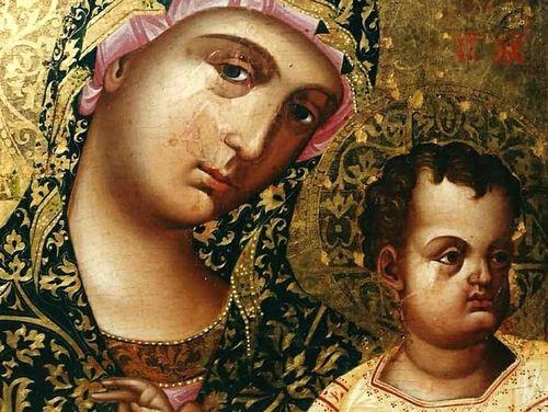 Пресвятая Богородица с Младенцем. Кипрская икона XVI века.