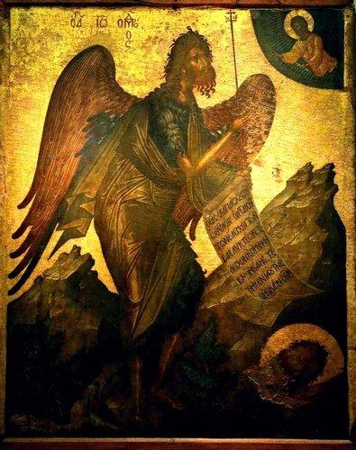 Святой Иоанн Предтеча Ангел пустыни. Икона. Критская школа, XV век. Иконописец Ангелос. Византийский музей в Афинах.